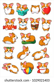 Dogs emoji stickers,patches collection.Vector set illustration. Cartoon Corgi. Welsh corgi. Cute Welsh Corgi Pembroke cartoon set. Cute dog breed welsh corgi. Flat style. The dog is a symbol of 2018