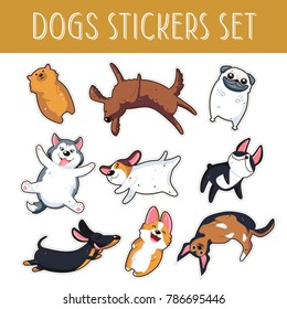 Dogs emoji stickers,patches collection.Vector set illustration. Pomeranian Spitz, English setter, Mops, Pug,  Husky, Jack Russell Terrier, Boston Terrier, Dachshund, German badger-dog, Corgi, Doberman