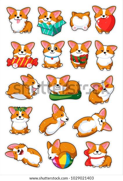 Image Vectorielle De Stock De Autocollants Emoji De Chiens Collection De 1029021403