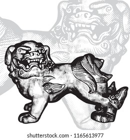 Dogs Fu or Heavenly Lions of Buddha - oriental mythical symbol. Vector black and white graphic illustration in vintage engraving style. East symbolic guard image.