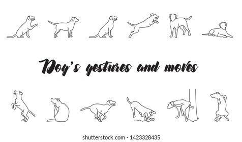 Dogs gestures and moves icon set