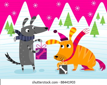 Dogs giving Christmas presents - vector