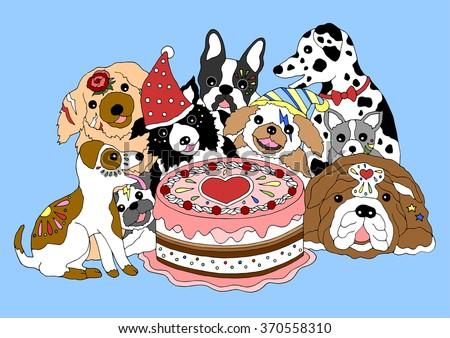 Dogs Happy Birthday Party With Big Cake Hand Drawn Vector Illustration Design