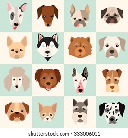 Dogs head icon set, vector flat illustrations. Popular dogs breeds, card, game graphics. Fun seamless pattern for baby. Happy animals background. Cartoon style