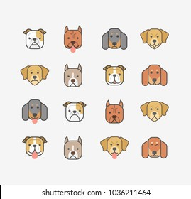Dogs heads emoticons vector set