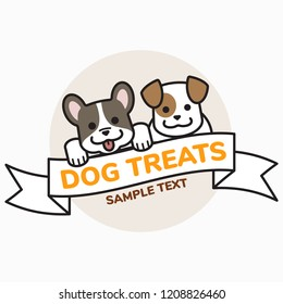 Dogs in outline cartoon, Dog treats concept