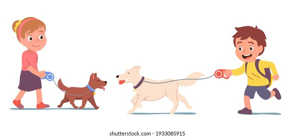 Dogs owners girl, boy kids run walk their puppy pets on leashes. Children cartoon character walking dog pet friend on summer park walkway with bench. Nature leisure activity. Flat vector illustration