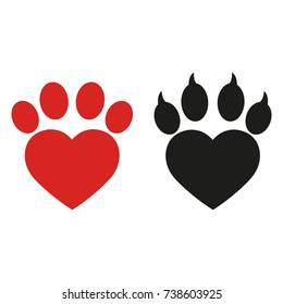 dog's paw in the shape of a heart