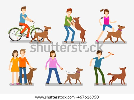 Dogs People Icons Set Pets Animals Stock Vector (Royalty Free ...
