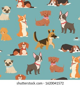 Dogs and puppies different breeds wrapping paper with husky, bulldog, schnuzer, spaniel vector seamless pattern illustration. Cartoon pets dogs background.