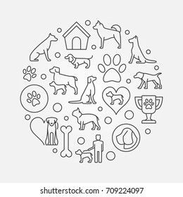 Dogs round outline illustration. Vector concept symbol in thin line style made with dog icons