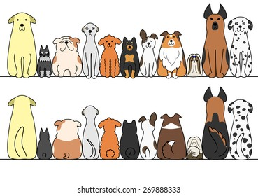 dogs in a row with copy space,front and back