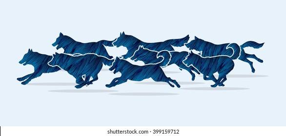 Dogs running designed using blue grunge brush graphic vector.