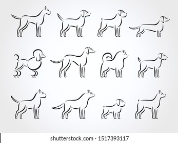 Dogs set. Collection icon dog. Vector
