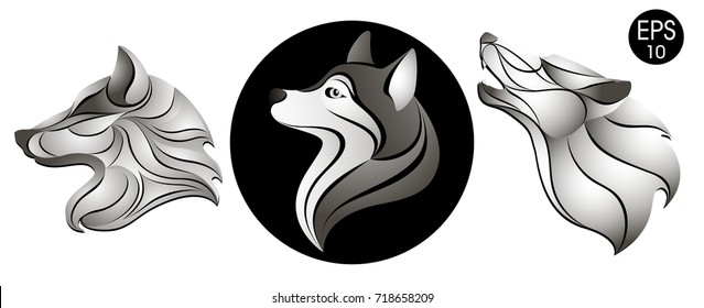 Dogs set. Dog head logo. New Year's symbol. Stock vector illustration