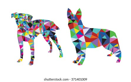 Dogs set polygonal style from big animal set