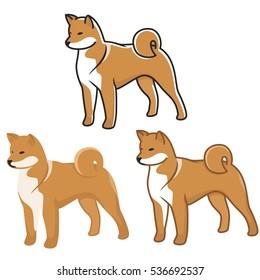 Dogs Set of Shiba Inu Vector illustraton
