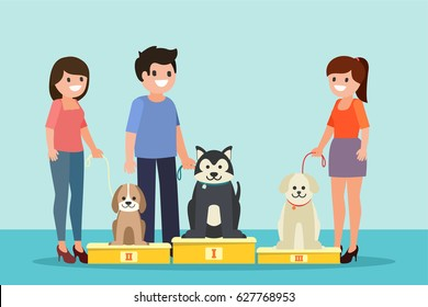 Dogs show illustration in cartoon flat style.  People with champion dogs winning in pet competition. Isolated. Vector.