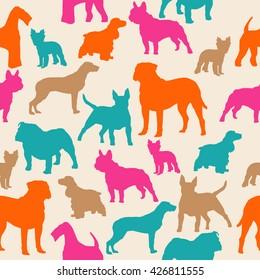 Dogs silhouette colorful seamless pattern. Airedale, french bulldog, cocker spaniel, bull mastiff, english bulldog, yorkshire terrier, bull terrier