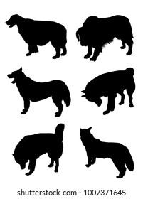 Dogs Silhouette set Dogs Silhouette set is a different poses dogs silhouette. It's a vector illustration.