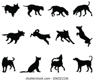 Dogs silhouette, vector