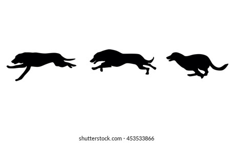 Dogs silhouettes. Dog runs. Vector illustration.