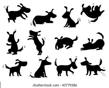 Dogs silhouettes - poses