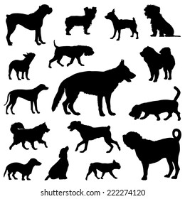 Dogs silhouettes, Vector Set of dogs silhouette