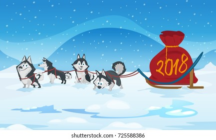 Dogs sled team and santas red bag. Vector illustration