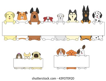 dogs standing with the card