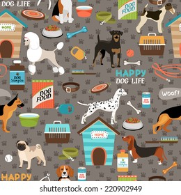 Dogs vector seamless background pattern with a german shepherd  pug  bloodhound  rottweiler  beagle  dalmation  poodle  fox terrier and pitbull with their bones  toys and dog food