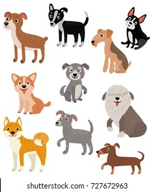 Dogs. Vector set. 10 characters