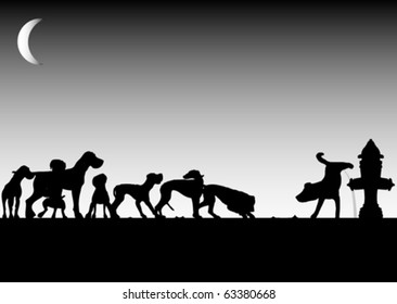 Dogs waiting for pee (vector)