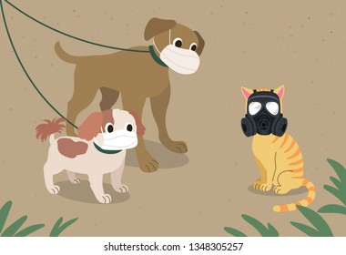 Dogs walking along the mask met a cat wearing a gas mask. hand drawn style vector design illustrations.