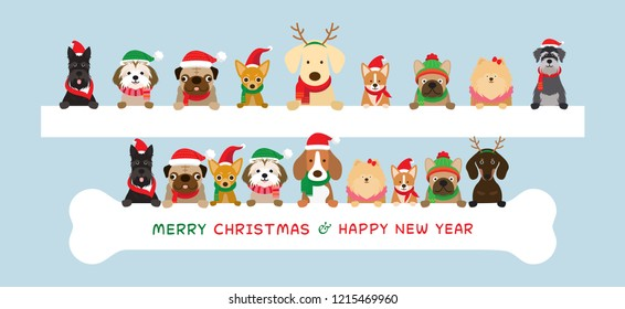 Dogs Wearing Christmas Costume Holding Banner, Winter and New Year Celebration