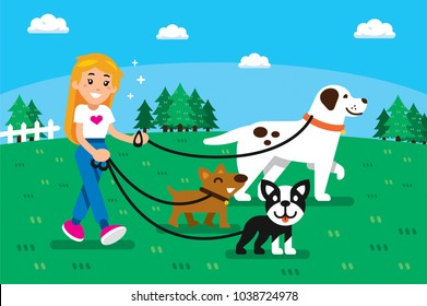 Dogsitter girl with 3 funny dogs at park. 100% vector layered
