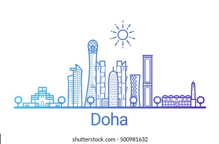 Doha city colored gradient line. All Doha buildings - customizable objects with opacity mask, so you can simple change composition and background fill. Line art.