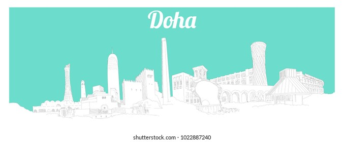 DOHA city hand drawing panoramic sketch illustration
