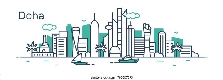 Doha city. Modern flat line style. Vector illustration