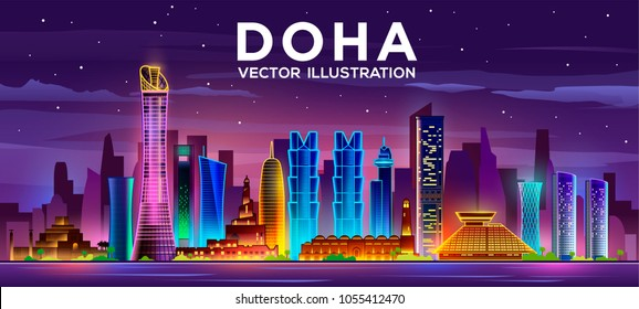 Doha city night skyline. The capital of the country is Qatar. Vector illustration