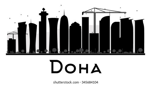 Doha City skyline black and white silhouette. Vector illustration. Simple flat concept for tourism presentation, banner, placard or web site. Business travel concept. Cityscape with landmarks