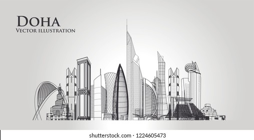 Doha city skyline. The capital of the country is Qatar. Most famous monument and buildings landmark. Vector illustration.
