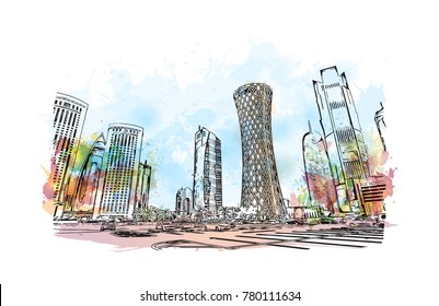 Doha City skyline, Qatar. Watercolor splash with hand drawn sketch in vector illustration.