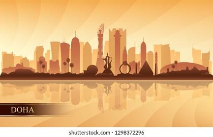 Doha city skyline silhouette background, vector illustration