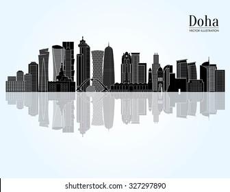 Doha detailed skyline. Vector illustration