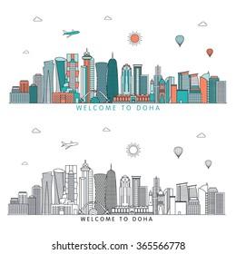 Doha detailed skyline. Vector line illustration. Line art style
