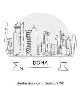 Doha Hand-Drawn Urban Vector Sign. Black Line Art Illustration with Ribbon and Title.
