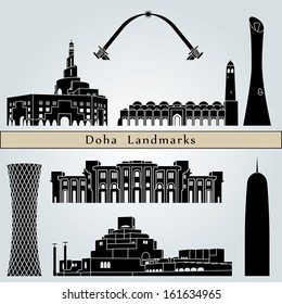 Doha landmarks and monuments isolated on blue background in editable vector file