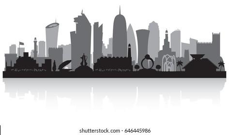 Doha Qatar city skyline vector silhouette illustration