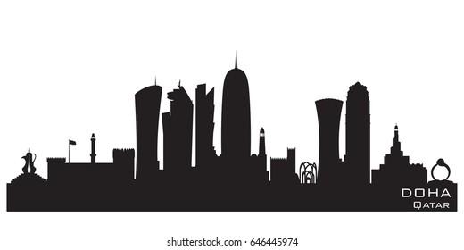 Doha Qatar skyline Detailed vector silhouette